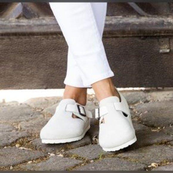 White Leather Birkenstock London Mules/Clogs